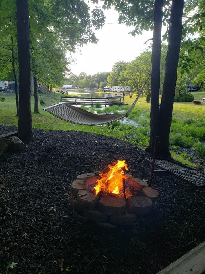 campfire with hammock